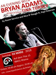 ROOM SERVICE with NICE N' ROUGH – an evening with BRYAN ADAMS with special guest TINA TURNER